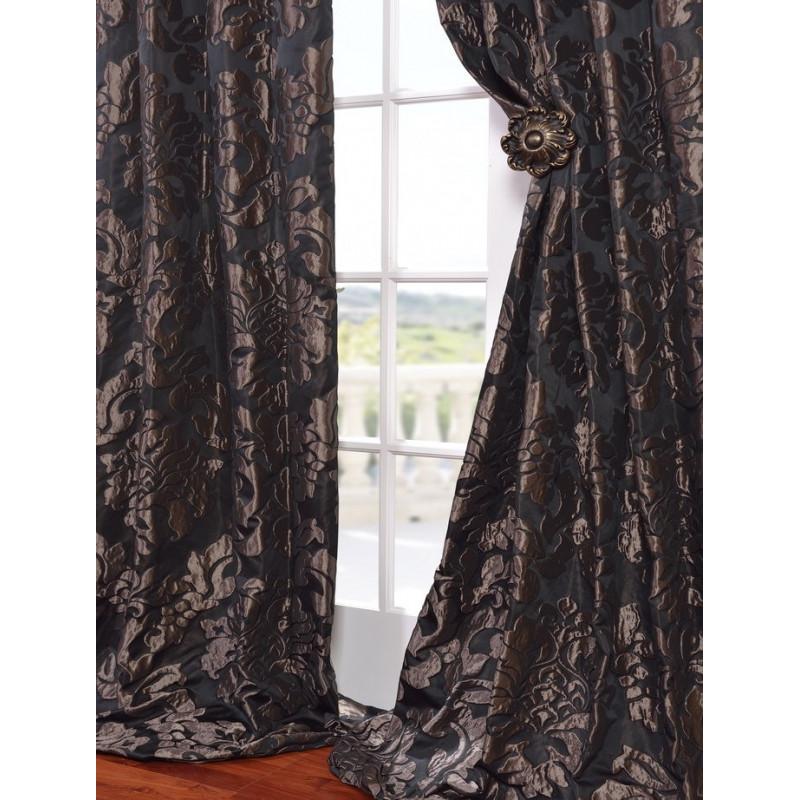 Astoria Black Amp Pewter Faux Silk Jacquard Curtain