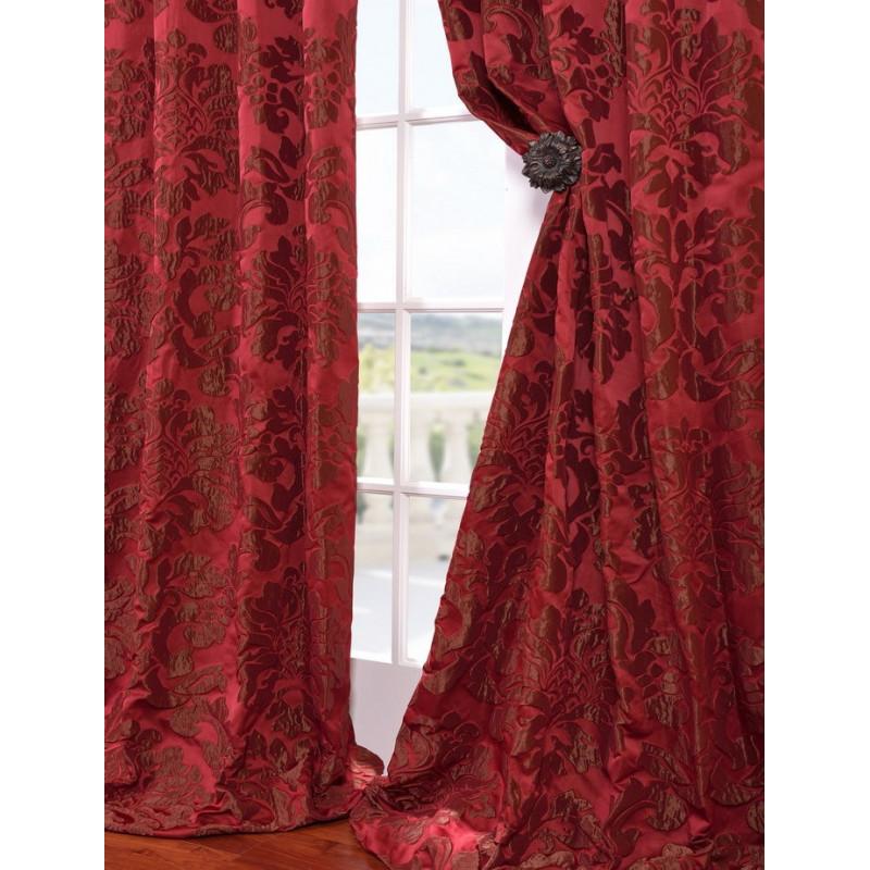 Astoria Red Amp Bronze Faux Silk Jacquard Curtain Curtain