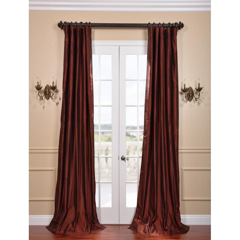 Cognac Silk Taffeta Curtain Curtain Drapery Com