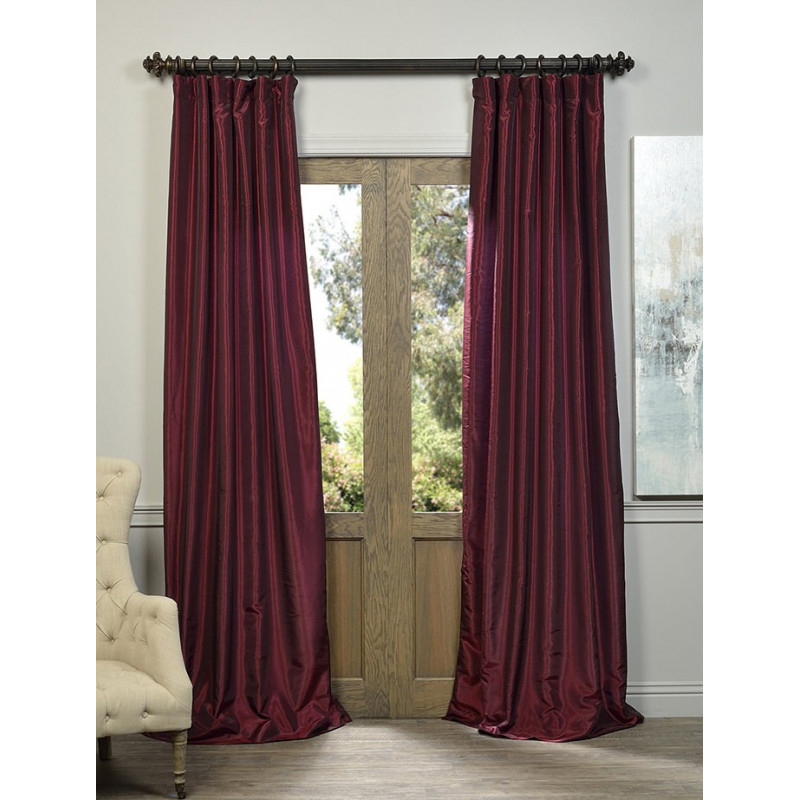 Ruby Vintage Textured Faux Dupioni Silk Curtain Curtain