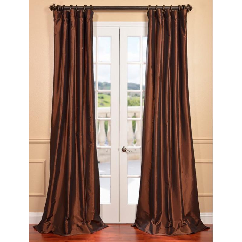 Copper Brown Faux Silk Taffeta Curtain Curtain Drapery Com