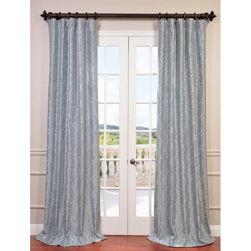 Algeirs Silver Embroidered Faux Silk Curtain Curtain