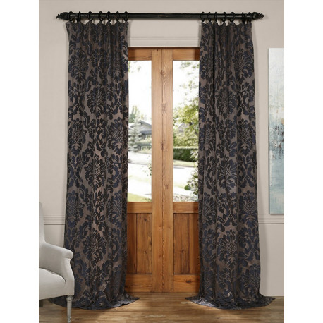 Astoria Mercury Grey & Dark Sapphire Faux Silk Jacquard Curtain