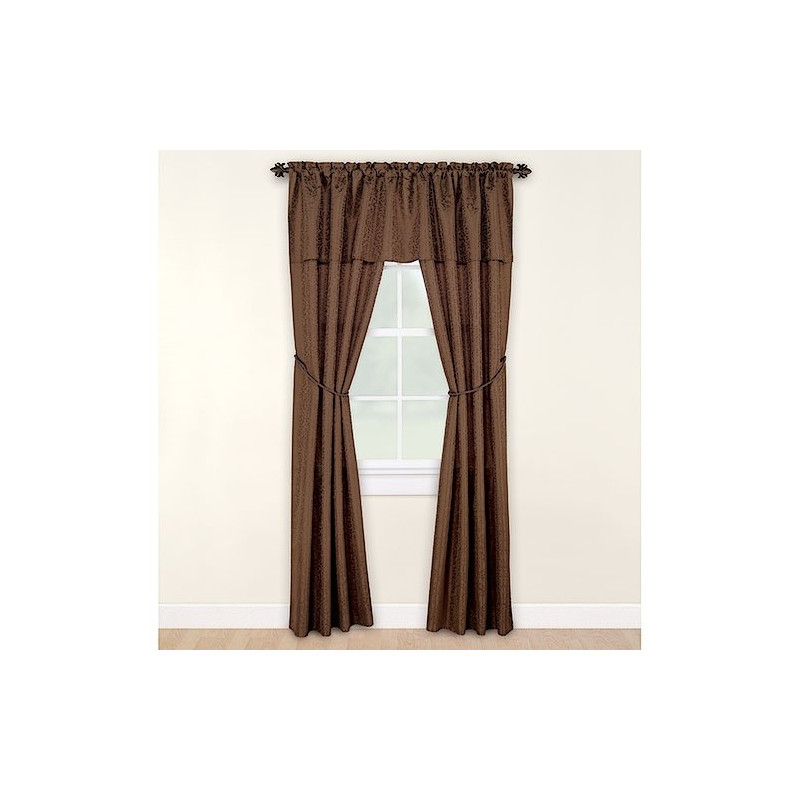 Mainstays Victoria Complete Window Set Brown Curtain