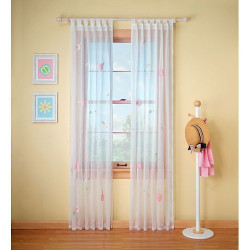 Sheer Window Curtain with Embroidery