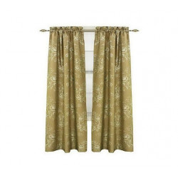 Dupioni Silk Floral Rod Pocket Panel