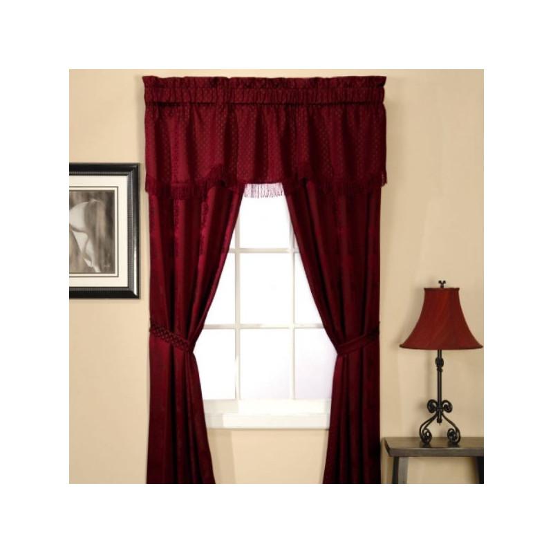 Classic Stripe 5 Piece Window Set Burgundy Curtain