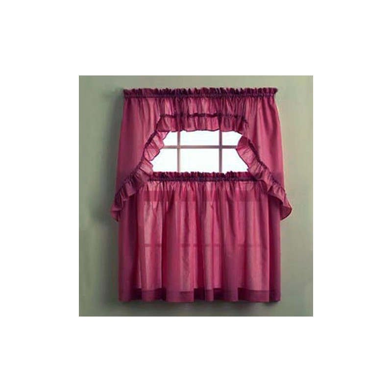 Stacey Solid Color Ruffled Kitchen Curtains