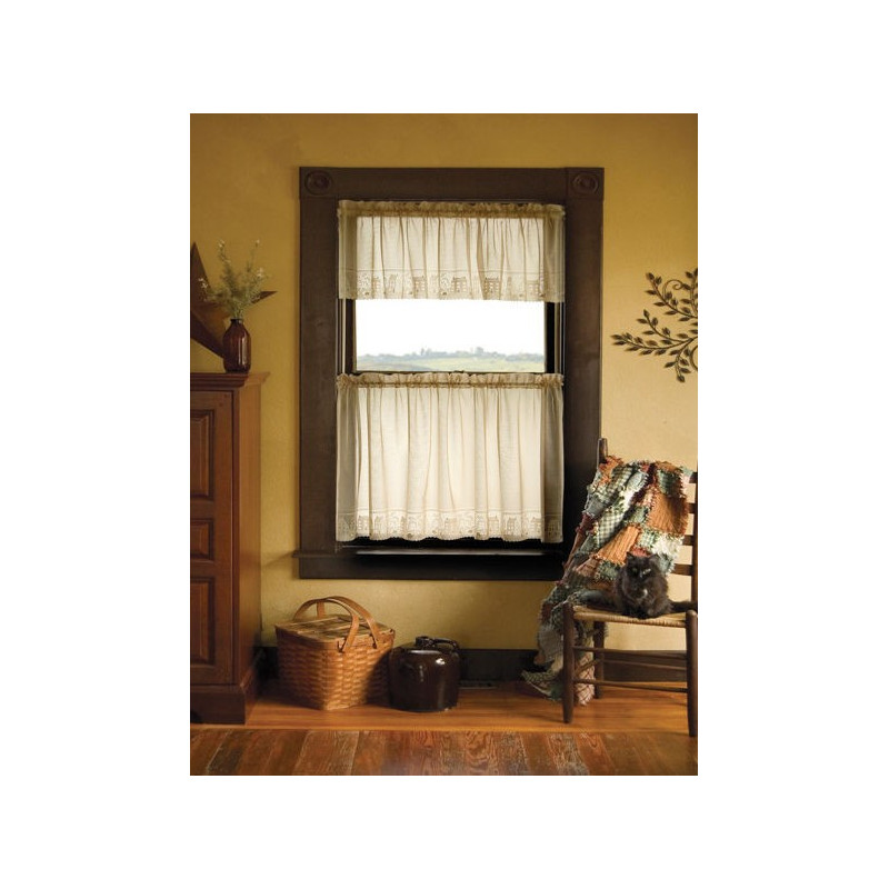 Country Willow Lace Valance And Tiers Curtain Drapery Com