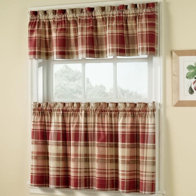 Vail Plaid Kitchen Curtains Curtain Draperycom