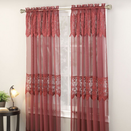 Carie Sheer Panel With Attached Valance Curtain Drapery Com