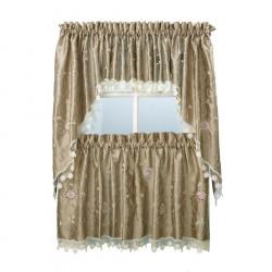 Casandra Taupe Kitchen Curtains